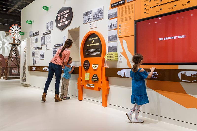 Parent and children in museum exhibit